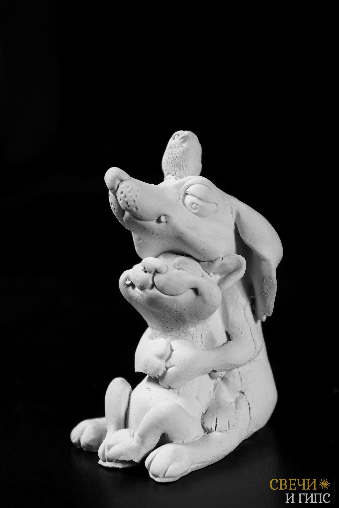 Собака с кошкой Крепкие объятия » Свечи и гипс ...
